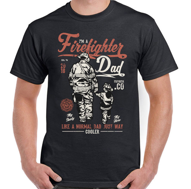 41b48dc4d Firefighter Dad Mens Funny Fireman T Shirt Fire Brigade Service Sam Father s  Day O-Neck
