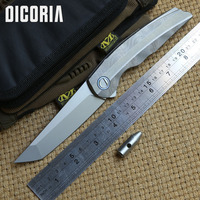 DICORIA RUS Flipping Tanto RFT D2 blade Folding knife Titanium Tactical camping hunting outdoor survival Pocket Knives EDC tools