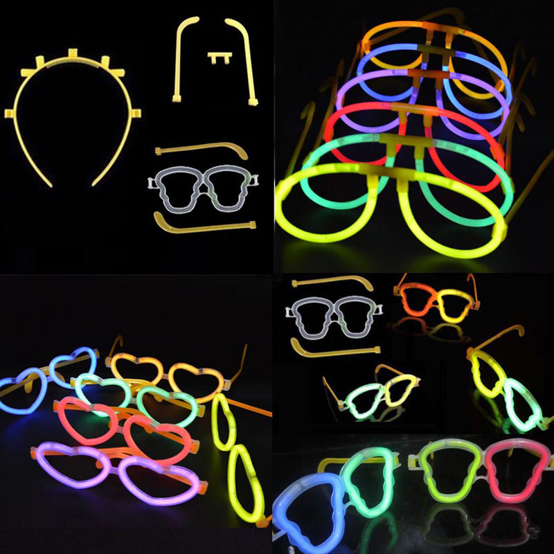 Luminoso Glow neon sticks Occhiali da vista Archetto Glowing neon glasses Wedding Birthday Party Christmas Halloween