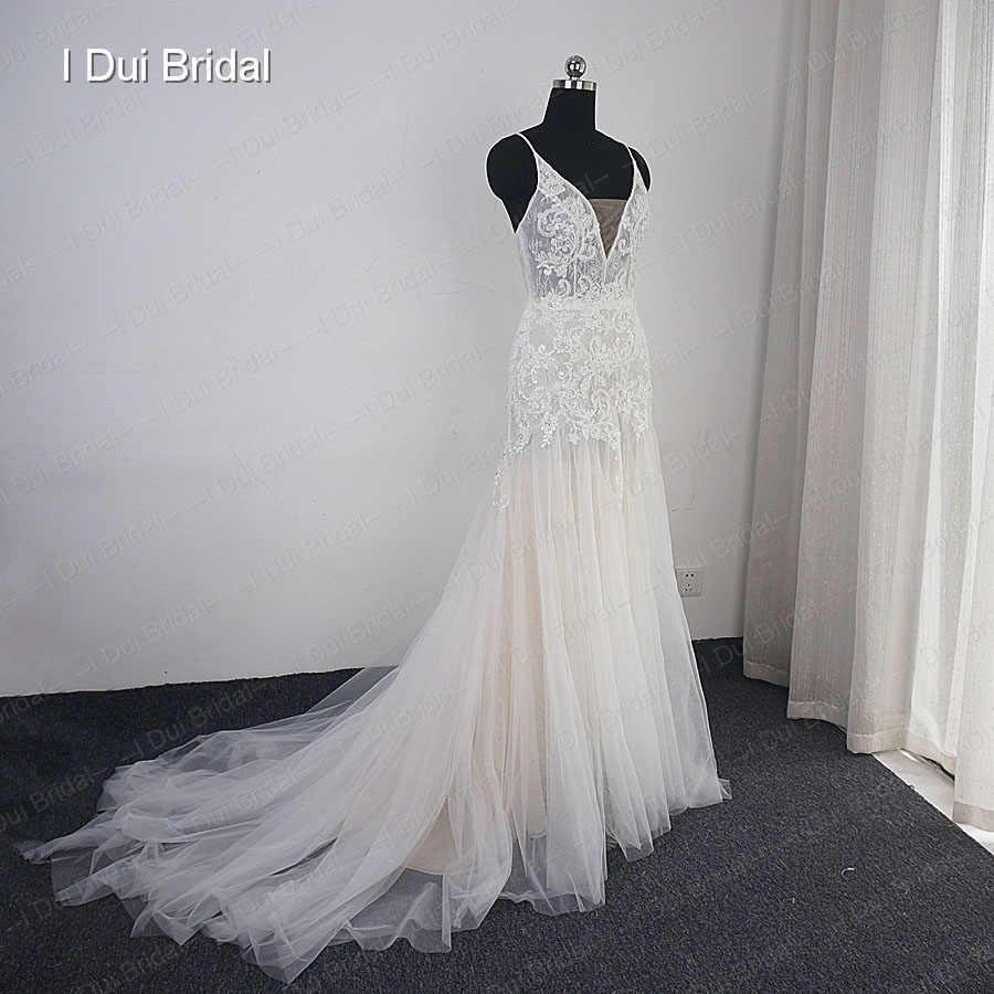 Sheath Boho Wedding Dress Champagne Lining Lace Appliqued Beaded Bridal Gown Beach Wedding Light Dress