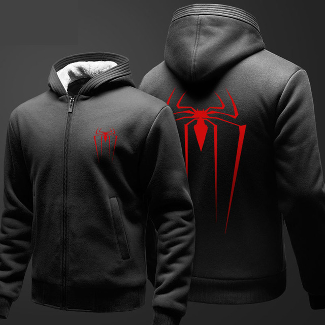 92fc05682aede Marvel Superhelden Spiderman Zip Hoodies Mens Jungen Studenten Mode Dicker  Mantel Für Winter Jugend Schöne Kleidung