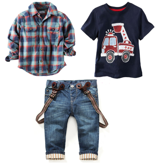 2017 Children's clothing sets for spring Baby boy suit Long sleeve plaid shirts+car printing t-shirt+jeans 3pcs suit set