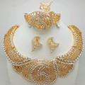 2016 Conjuntos de Jóias de Moda Banhado A Ouro Bijoux Collier Colares de Flores & Bracelet & Brincos & Anel Conjunto de Jóias Egípcio
