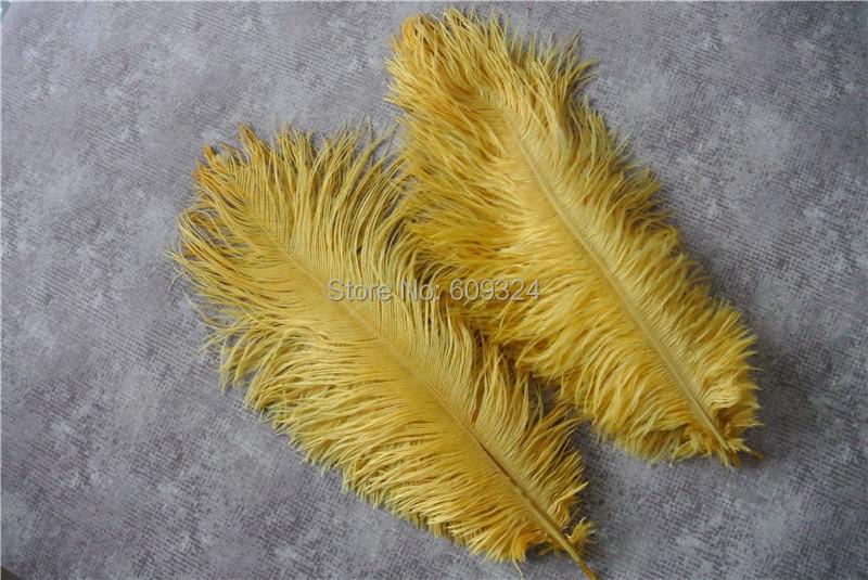 Золотые и белые страусиные перья 30-35 см для свадебного украшения