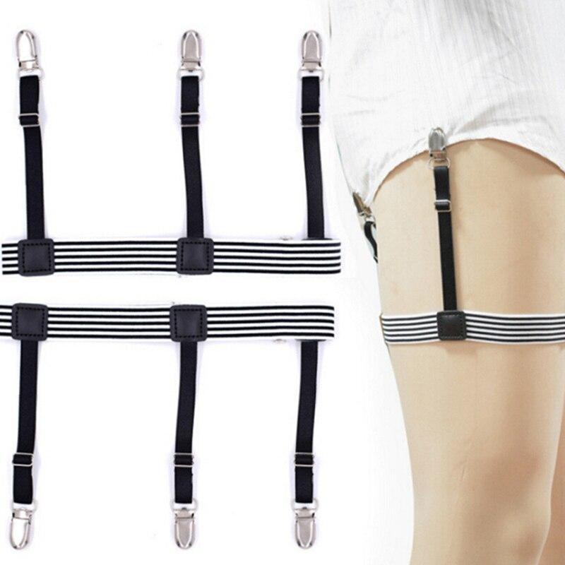 Mens Shirt Stays Garters Elastic Nylon Adjustable Shirt Holders For Male Striped Suspenders Straps Anti-skid Belt