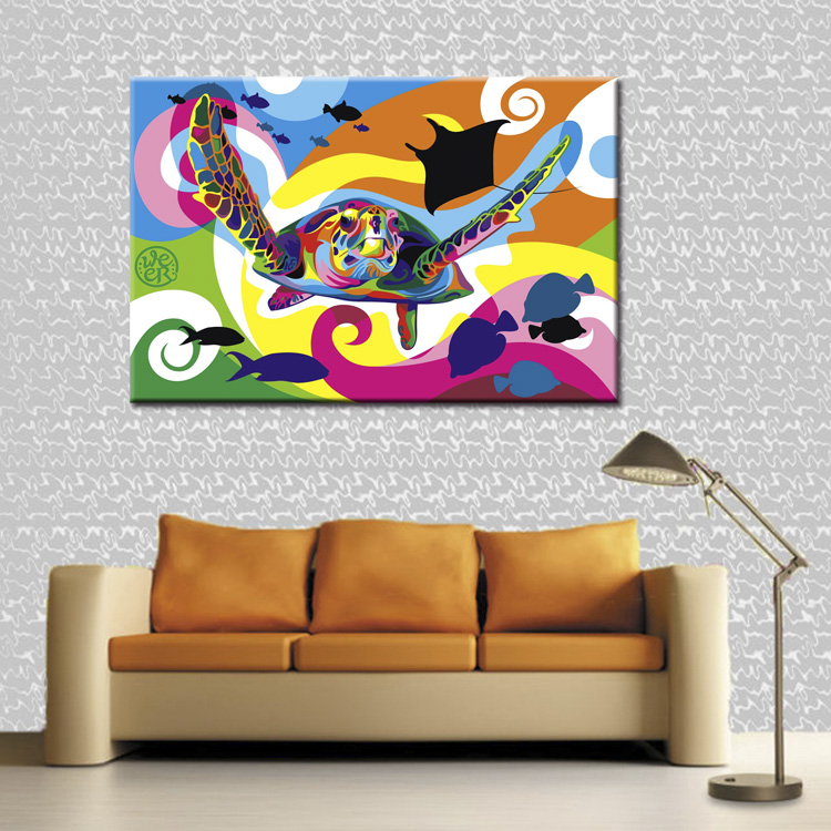 Color turtle series poster canvas print wall art modular painting on decoration oil paint decorative pictures wholesale in Painting Calligraphy from Home Garden