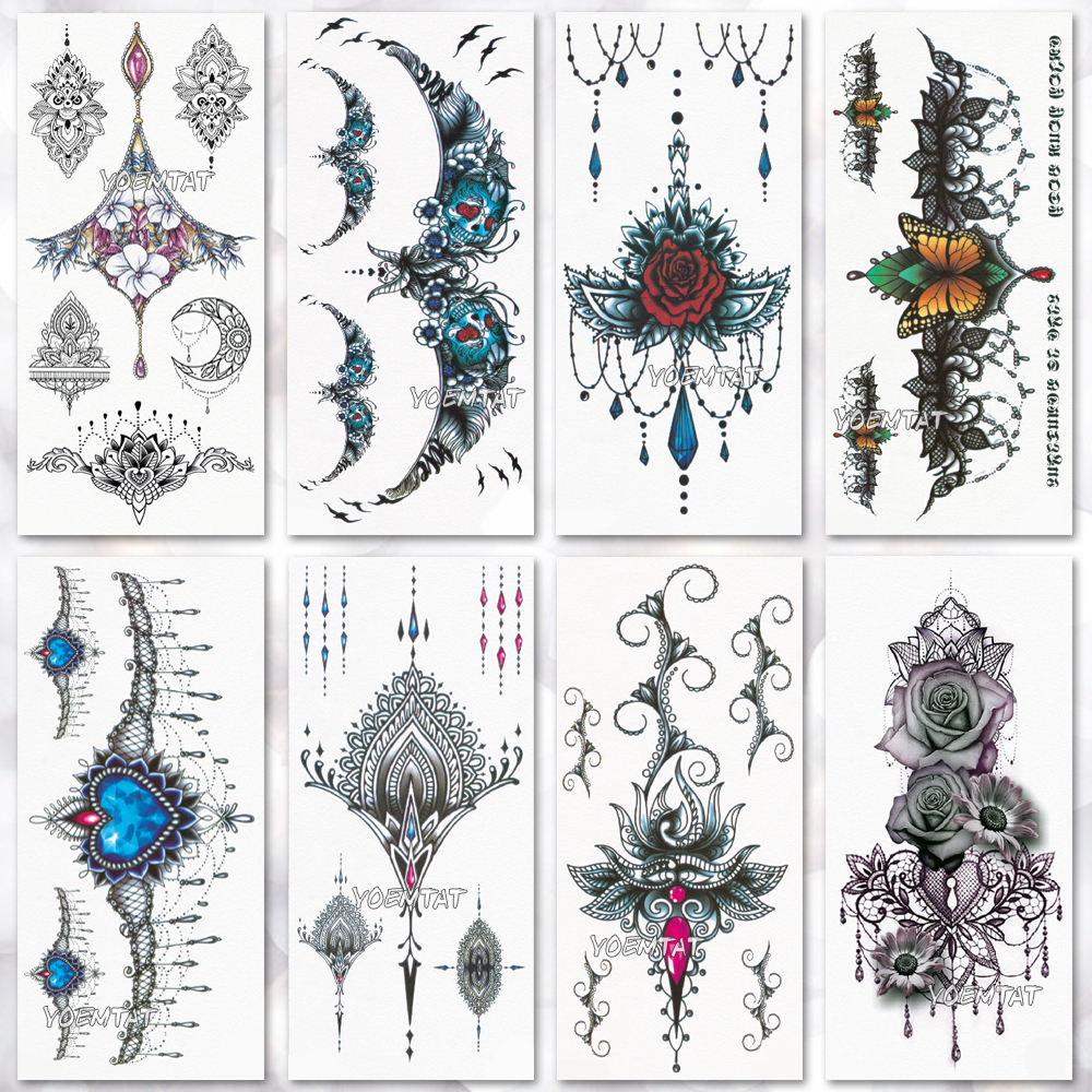 Waterproof temporary tattoo stickers on the body art temporary men tattoos Neck Chest Flowers pattern fake tattoo stickers women