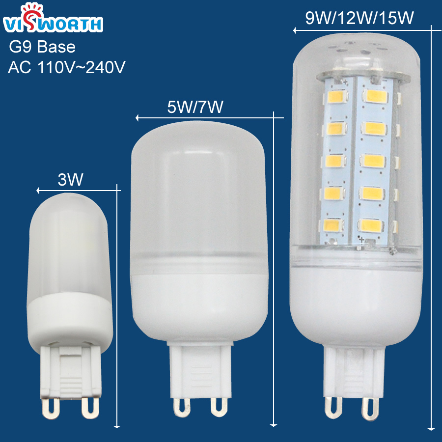 G9 LED lamp 3W 5W 7W 9W 12W 15W LED bulb 120V 110V 220V 230V 240V lampada ultra bright light Warm white Cold white free shipping 3pcs lot 50w led street light outdoor light road lamp 12v 110v 120v 220v 230v 240v warm cool white euqal 1200w halogen lamp