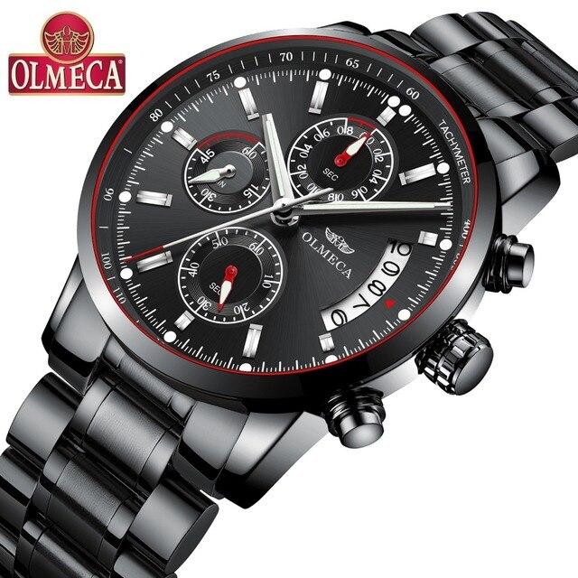 838c01d3a2f OLMECA Classic Chronograph relógios de Pulso Dos Homens Relógios de Luxo  Casual Masculino Moda À Prova