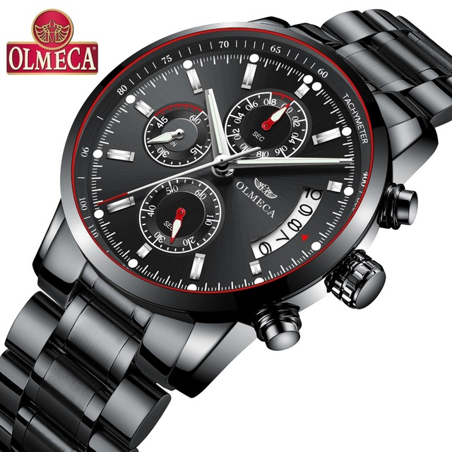 cfbf2a4f52f OLMECA Men s Watches Luxury Casual Male Classic Chronograph Wristwatches  Fashion Waterproof Luminous Easy-Read relogio masculino
