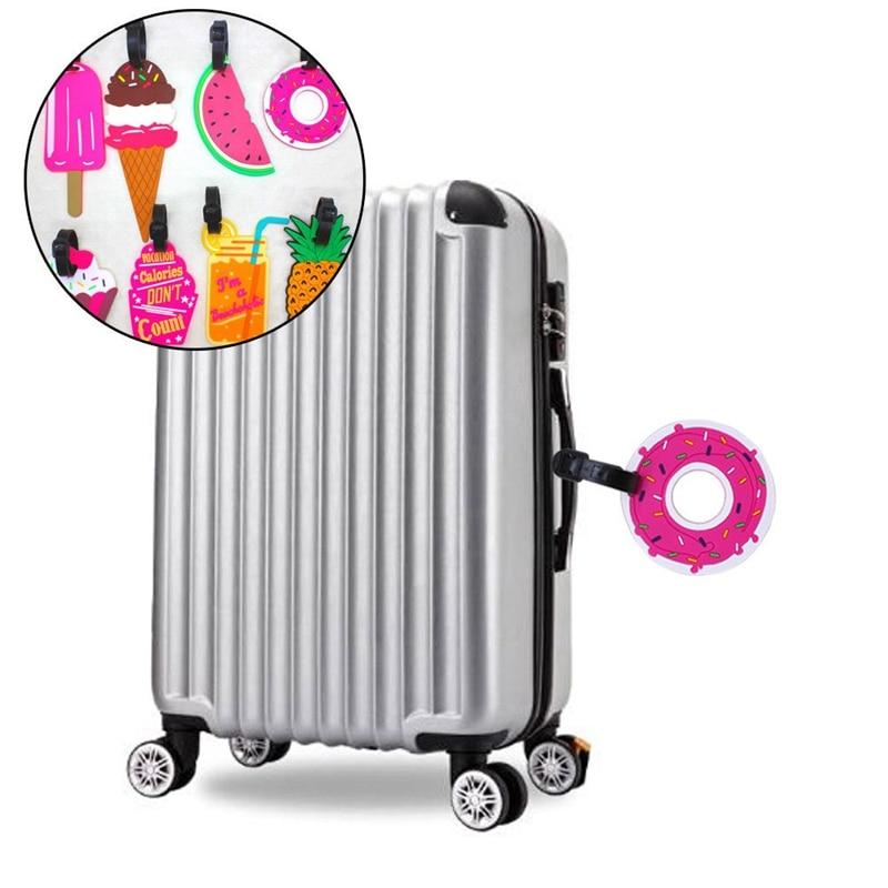 Label Luggage-Tag Suitcase Travel-Accessories Silicone Cartoon Kawaii Id-Address-Holder