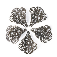 "100pcs/lot 29x24mm (1.14""x0.94"") 3-Petal Hollow Flower Filigree Antique Bronze Silver Brass Bead Caps for DIY Earring Making"