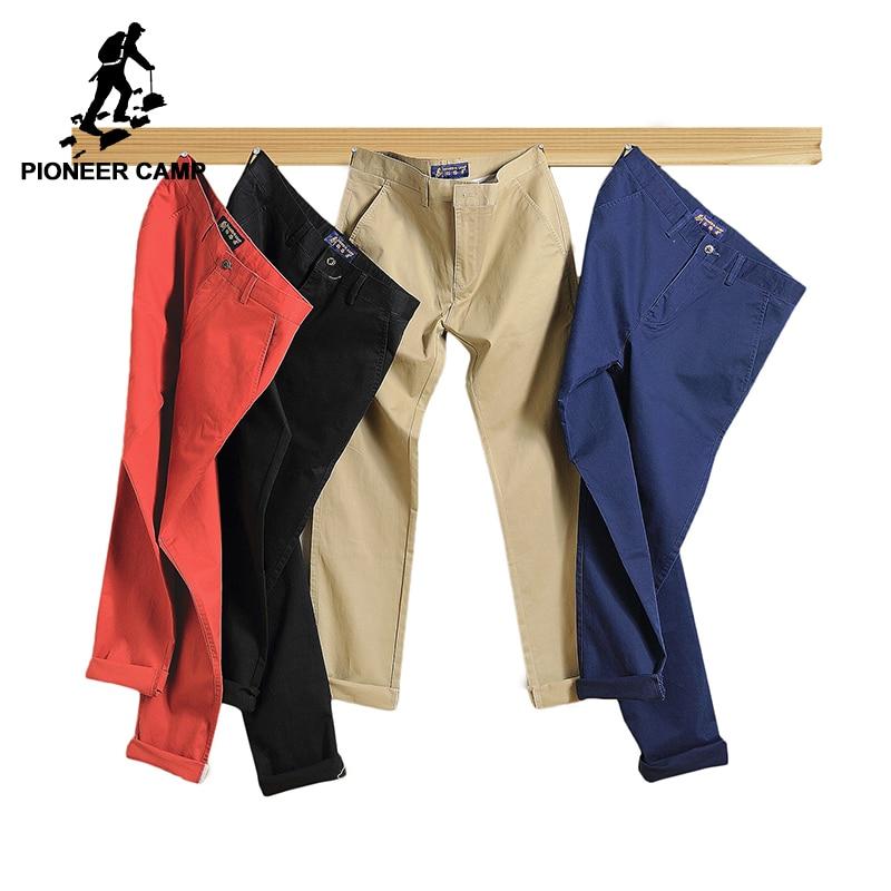 Pioneer camp 2018 pantalones casuales hombres ropa de marca alta calidad primavera verano pantalones largos color caqui pantalones elásticos masculinos 655110