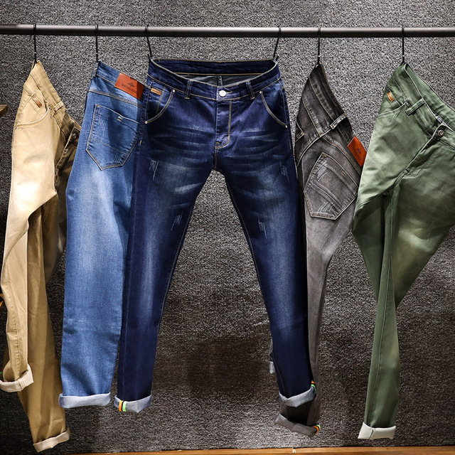 Spring New Men's Elastic Cotton Stretch Jeans Pants Loose Fit Denim Trousers Men's Brand Fashion Wear and washed jean pants