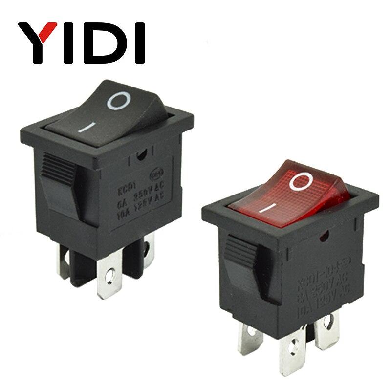 6A 250VAC KCD1-104 Rocker Switch 4pin On Off DPST 12V 220V Red Lamp Black Latching 15x21 Rocekr Switch