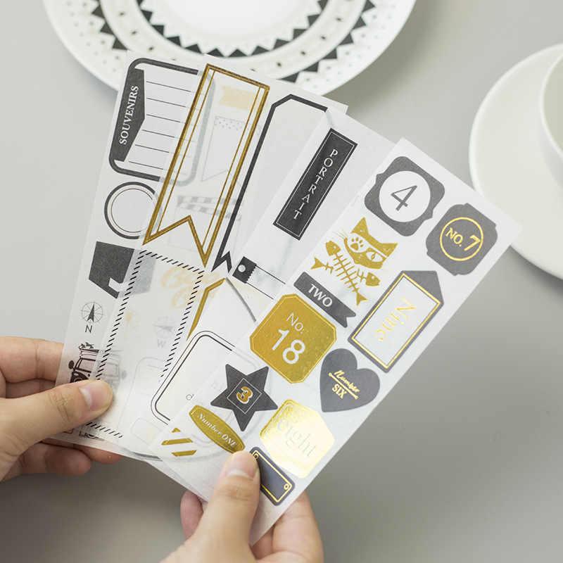 4 ورقة/حزمة الذهب التسلق ملصقات للتسمية سكرابوكينغ هواية DIY لاصق ملصق مجموعة الألبان دفتر مخطط الديكور