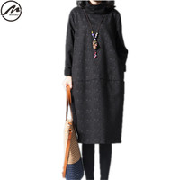 MIWIMD Hot Sale 2018 New Fashion Women Autumn Winter Casual Looose High Collar Long Sleeve Print Cotton Linen Dresses Big Size
