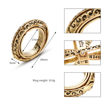 Astronomical metal ball Creative Complex Rotating Cosmic Finger mood ring men  1