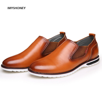 High Quality Cow Leather Men S Shoes Slip On UK Fashion Male Casual Shoes Men Flats