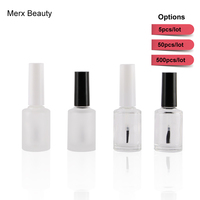 500pcs Empty Frosted Clear Glass Nail Polish Oil Bottles In black & white cap With Brush Cosmetic Container travel glass bottle