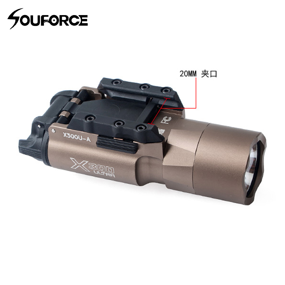 Tactical 600 Lumens Bright Powerful X300U Ultra LED Flashlight For Rifle 20mm Picatinny Rail