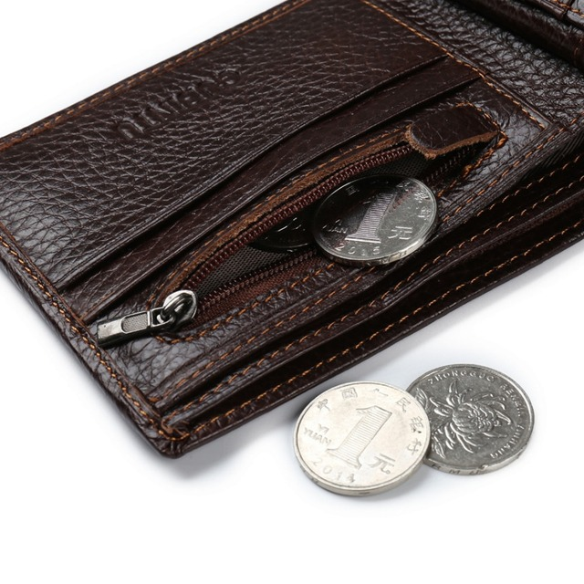 GUBINTU Genuine Leather Men Wallets Coin Pocket Zipper Real Men's Leather Wallet with Coin High Quality Male Purse cartera 3