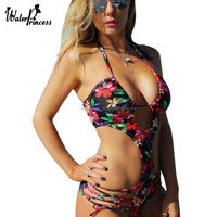 2017 New Floral Print One Piece Swimsuit Bandage Halter Sexy Swimwear Beadeau Cut Out Strappy Monokini
