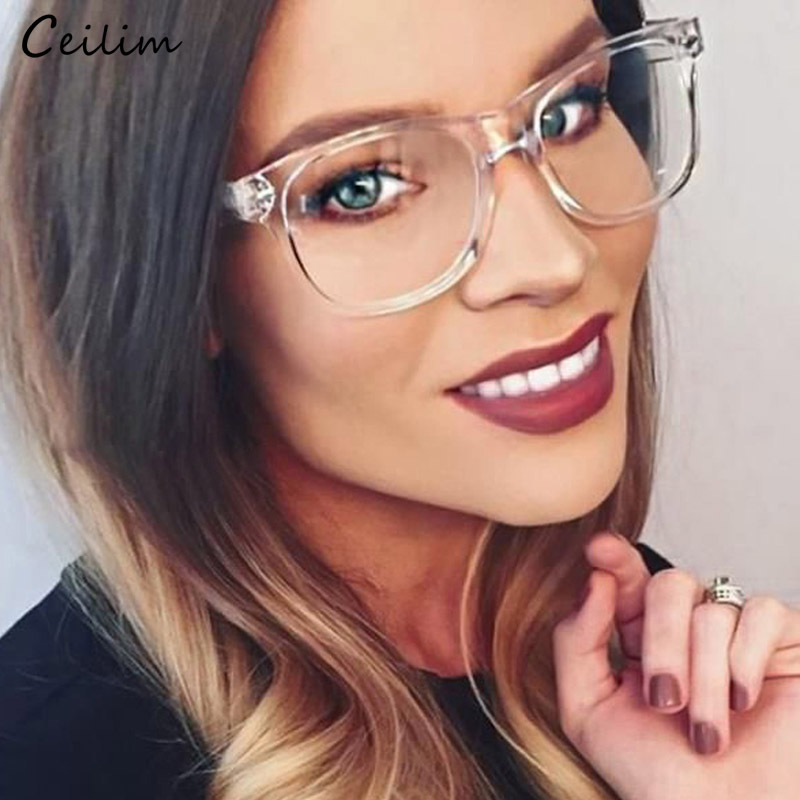 Fashion Clear Glasses For Women Transparent Spectacle Frames Fake Glasses Square Eyeglasses Optical Frame Female Eyewear Oculos