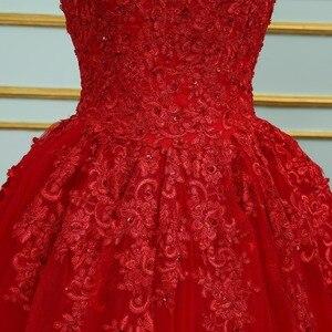 Image 3 - Vinca 써니 우아한 레이스 Applique 구슬 장식 공주 웨딩 드레스 2020 오프 숄더 새로운 모델 레드 볼 가운 웨딩 드레스