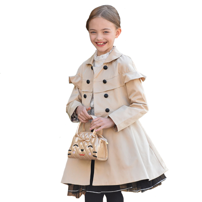 Autumn Girls Coat Kids Cotton Windbreaker Children Long Turn-down Collar Double Breasted Brand Outside Wear Clothing for 7y-14y ws755 autumn and winter wear threaded collar double breasted slim coat navy blue l