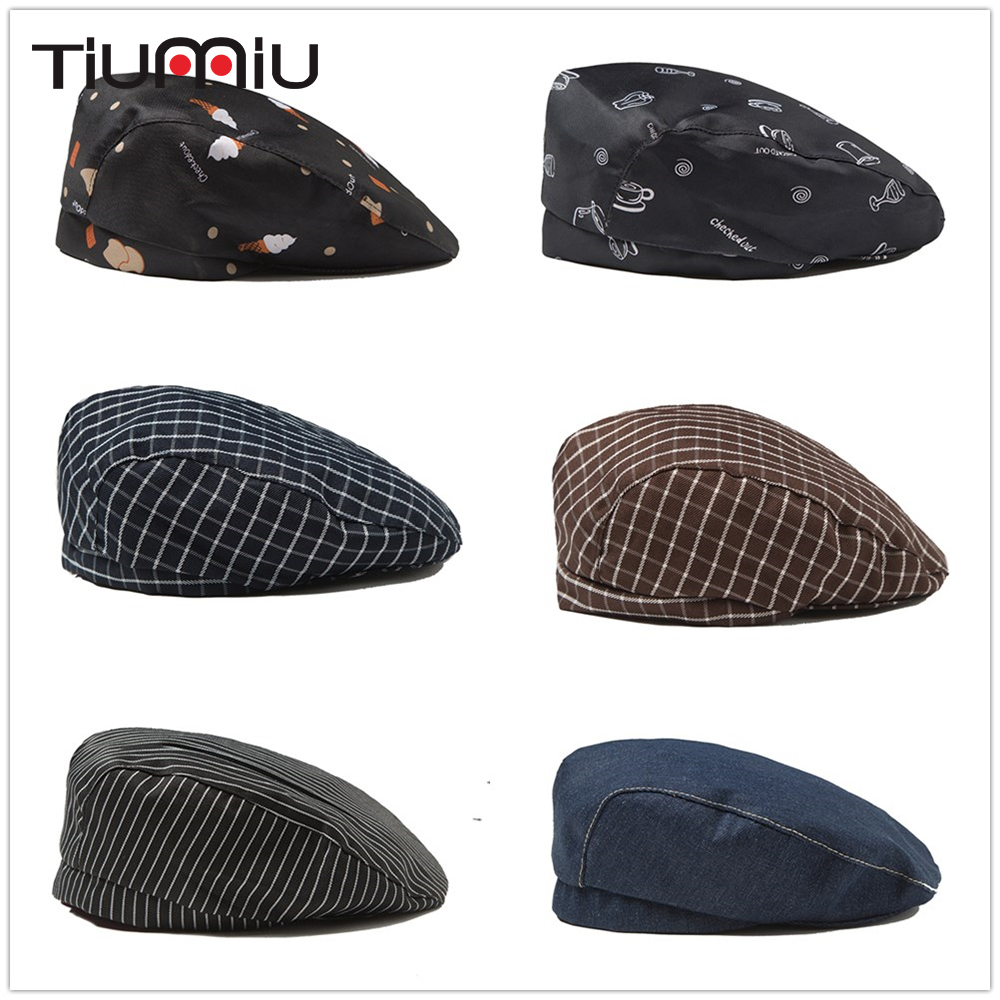 8 Colors Striped Chef Caps Wholesale Forward Cap Barber Chef Waiter Hat Hotel Restaurant Canteen Bakery Cooking Cap Chef Uniform