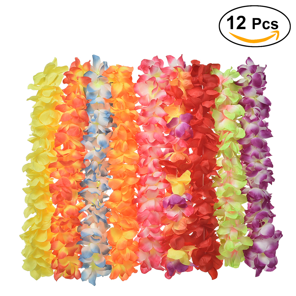 Online get cheap hawaii flower delivery aliexpress alibaba 12pcs hawaii flower garland necklace thickened for festival luau beach party random color dhlflorist Gallery