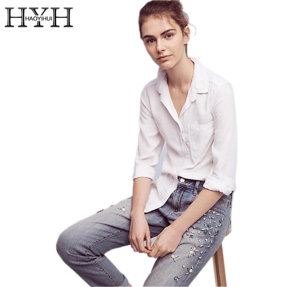 Hyh haoyihui fringe blusas blancas de la camisa de las mujeres de la solapa de c