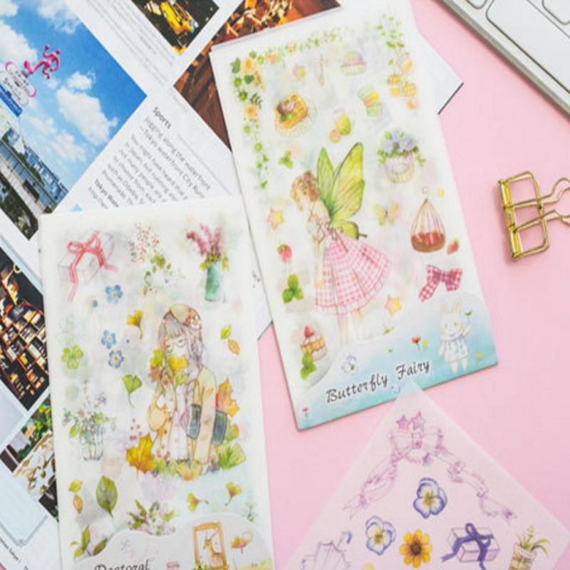 Купить с кэшбэком 6sheets/lot Deer Fairy Girl Elf Cute Stickers DIY Hand Account Diary Album Decorative Self-adhesive Student Paper Sticker Label