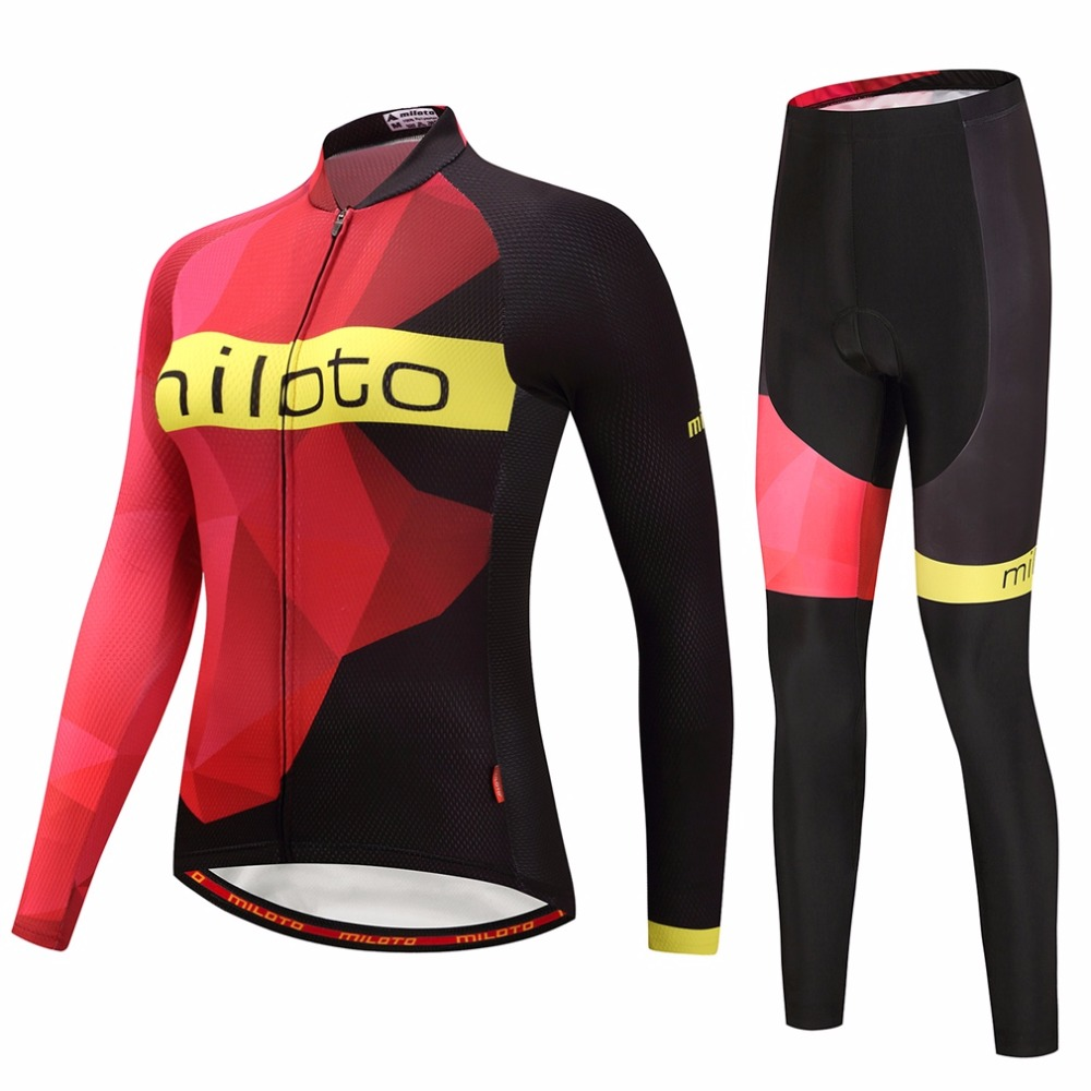 Womens Long Sleeve Cycling Jersey & Padded Pants Set Reflective MTB Bike Bicycle Jersey & Compression Tight Suit XXS-5XL