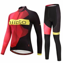 Women's Long Sleeve Cycling Jersey & Padded Pants Set Reflective MTB Bike Bicycle Jersey & Compression Tight Suit XXS-5XL