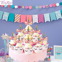 FENGRISE Cute Rainbow Unicorn Cupcake Cake Wrappers Toppers Banner Baby Shower Kids Favors Birthday Party Decoration