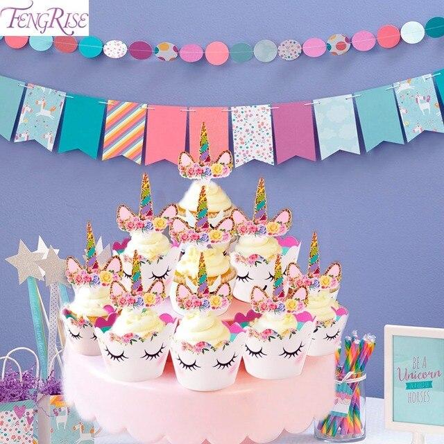 Fengrise Niedliche Regenbogen Einhorn Cupcake Kuchen Wrapper Topper