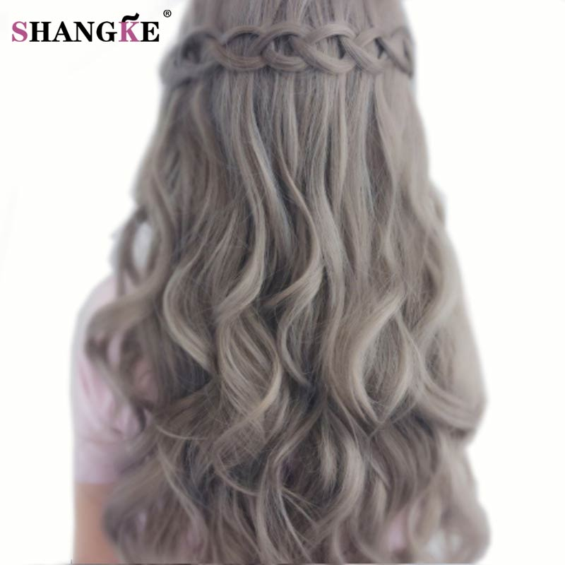 SHANGKE 26 Long Wavy Mix Gray Hair Wigs Natural Looking Female Synthetic Wigs For Black White