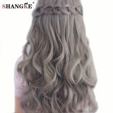 """SHANGKE 26 """"Длинные Волнистые Mix Седые Волосы Парики Естественный вид женские Синтетические Парики Для Черный Белый Женщины Теплоизоляционный Поддельные волос"""