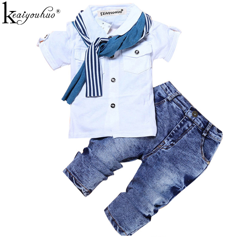 Boys Clothes Summer Children Clothing Sets Costumes For Kids Clothes Set Toddler T-shirt+Jeans Sport Suits Wear 2 3 4 5 6 7 Year toddler boys clothing clothes set minions cartoon t shirt shorts children camouflage kid sport suit for summer outfit boy 4 year