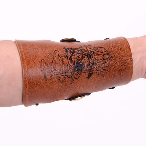 New product Brown Traditional Cow Leather Arm Restraint Arm Protector Armguard Hunting Archery Accessory Lahore