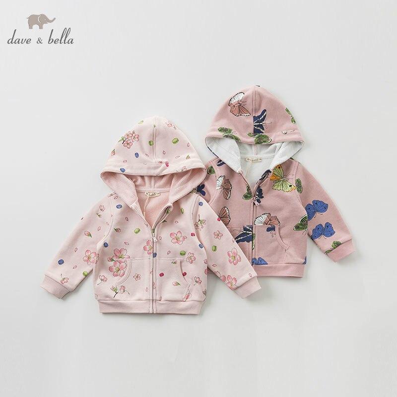 DB10777 dave bella spring infant toddler baby girl fashion print coats children cute top kids high