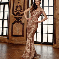 Stretch Retro Geometric Gold Sequin Evening Party Dress Slash Neck Off Shoulder Bodycon Dress Full Lining Backless Dress