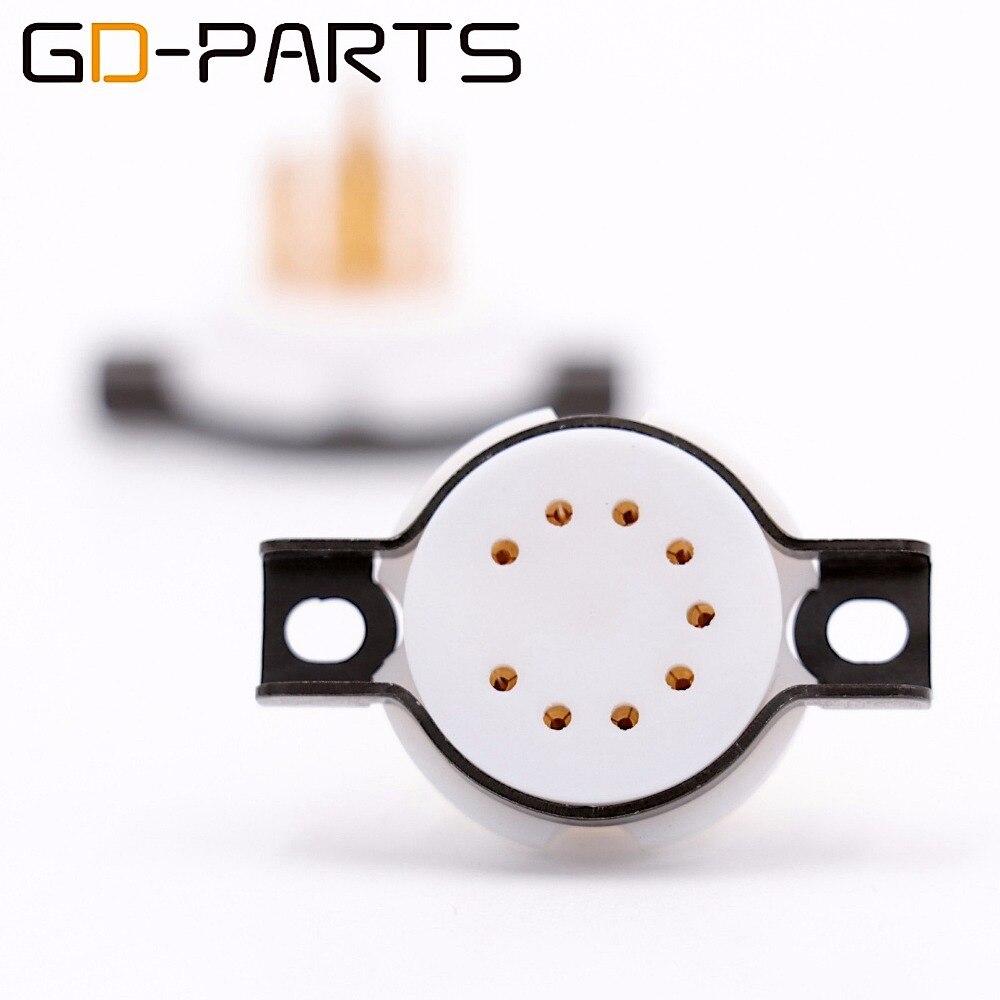 GD-PARTS 2PCS CMC Teflon 9 pin Tube Sockets for 6DJ8 12AX7 EL84 12AU7 ECC83 E88CC 7025 ECC82 12AT7 Vintage Amplifier DIY