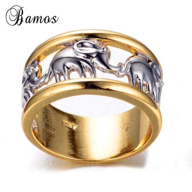 1af5c8c4346e Tamaño 6 7 8 9 10 elefante blanco hombres y mujeres moda anillo oro ...