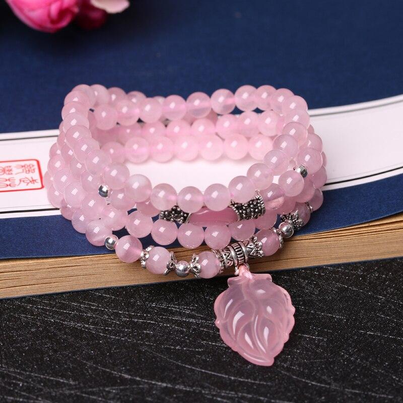Certificat de 7 styles! Pierres semi-précieuses naturelles brillantes de haute qualité 6 MM perles bracelet en cristal rose amoureux du renard meilleur cadeau