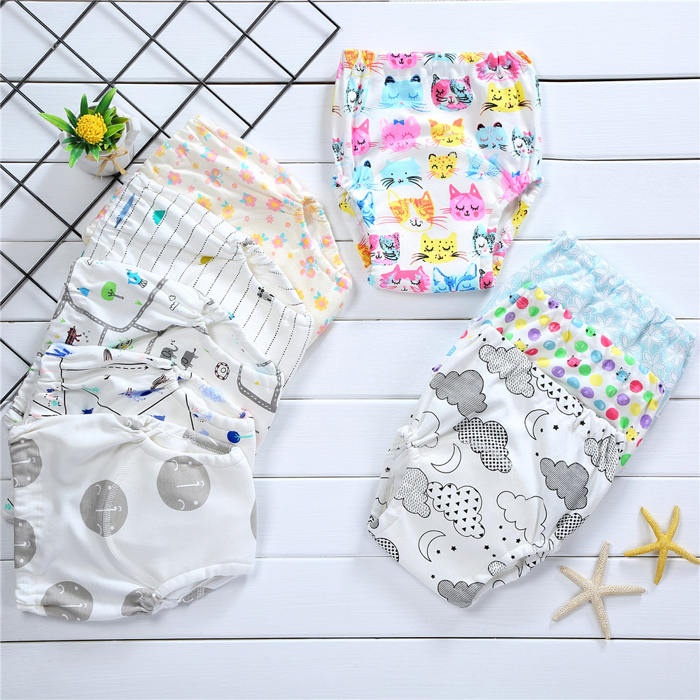 4Layers Baby Training Pants Reusable Diapers Infant Baby Cotton Underwear For Girls Boys Washable Cloth Diapers Pant For Baby