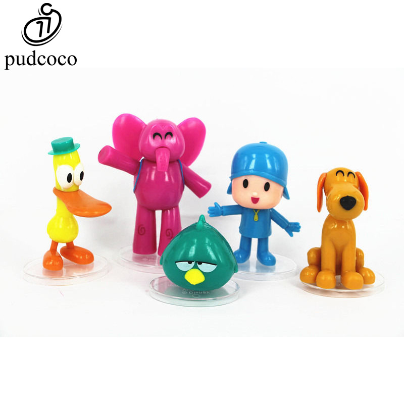 Pudcoco 5pcs/set Cartoon Anime Pocoyo Zinkia Pato Loula Pocoyo Elly Sleep Birds Toys Action Figures Kids Unisex Xmas Gift Toys 6pcs set disney toys for kids birthday xmas gift cartoon action figures frozen anime fashion figures juguetes anime models