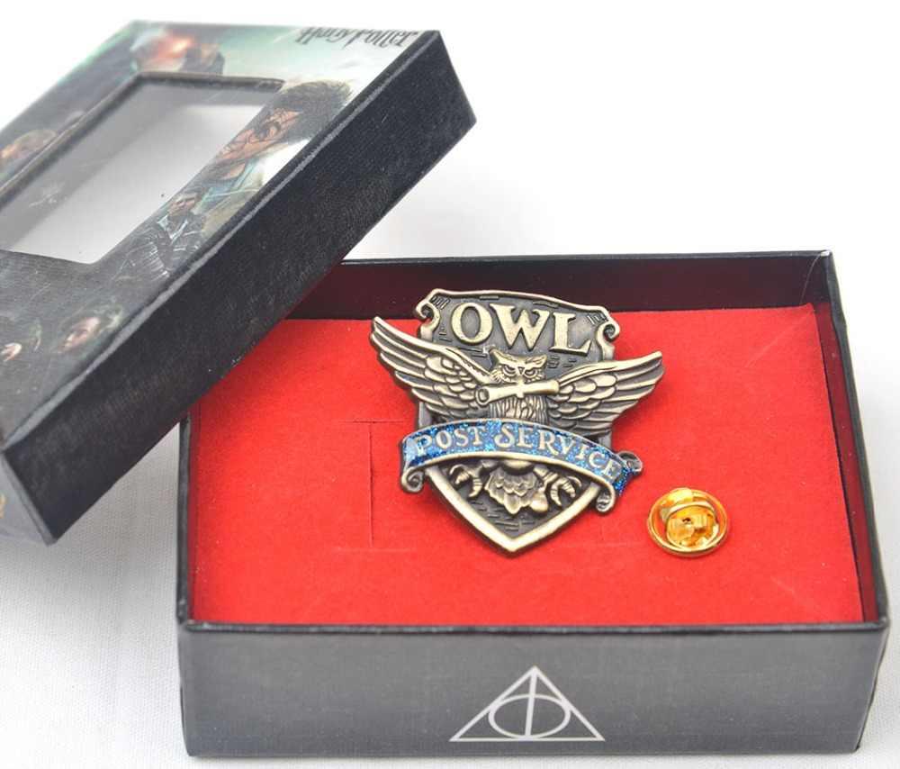HP harri potter Hogwarts School owl post service Metal Pin Badge Brooch  Cosplay accessories Kids Otaku gift in box